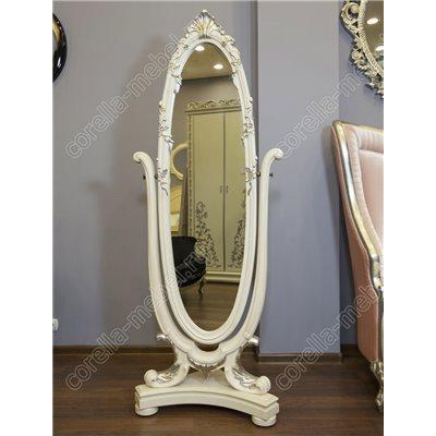 Зеркало напольное деревянное белое